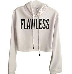 819d30c1484e Pivaconis Womens Long Sleeve Drawstring Flawless Printed Loose Crop  Pullover Hoodie Sweatshirt Cropped Sweater