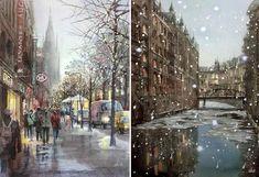 """Left: """"Hamburg, Germany in January"""" Right: """"Dusk in Hamburg, Winter, Germany"""" © Takashi Akasaka"""