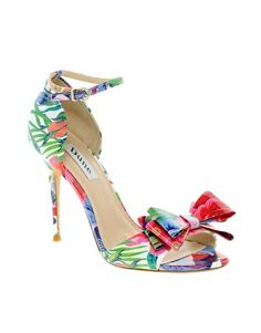 Enlarge Dune Dada Bow Front Floral Peep Toe Heeled Shoes