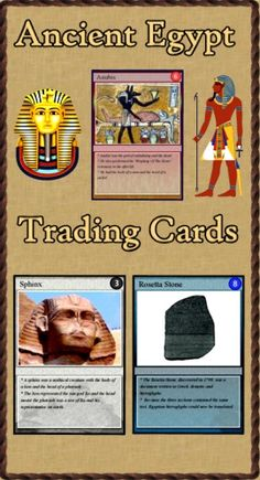 """Are you looking for a way to add interest to your Ancient Egypt unit? Do you need more activities for your learning stations? """"Ancient Egypt Trading Cards"""" is a set of 54 trading cards highlighting famous persons, places, events and documents of Ancient Egypt. Print and laminate the cards to create a standard set of playing cards. """"Educational Trading Card Games"""" details three original learning games. Creating Educational Trading Cards shows teachers and students how to make their own cards. ($)"""