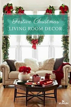 If your living room seems a bit bare, bring the holiday spirit in by adding Christmas decorations, take a look at our tips and get inspired to make your own! [Christmas Decor, Christmas Decor Ideas, DIY Christmas Decor, Interior Design Ideas, Christmas Design Ideas, Christmas Living Room Design Ideas, Christmas Wreath, Christmas Lights]