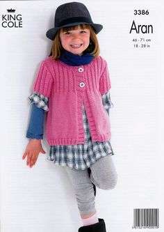 Rib Yoke Cardigans in King Cole Fashion Aran (3386) | Girls Knitting Patterns | Knitting Patterns | Deramores