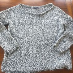 BRANDY MELVILLE great sweater salt & pepper Med This is an awesome Brandy Melville sweater that is the perfect color & in excellent condition. Salt & pepper color with a boat neckline boxy and hangs down to hip area and long enough on some to wear with leggings. Medium Brandy Melville Sweaters Crew & Scoop Necks