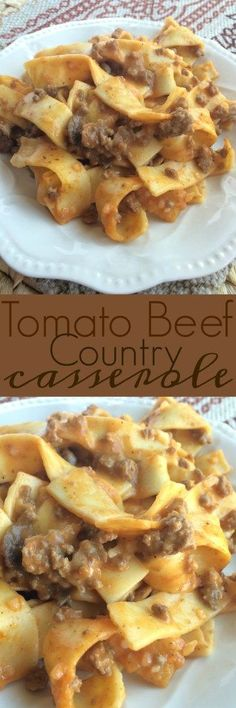This tomato beef country casserole is packed with all your favorite comfort foods. Tomato, mushrooms, creamy sauce, beef, and tender egg… beef recipes I Love Food, Good Food, Yummy Food, Beef Dishes, Food Dishes, Main Dishes, Egg Noodle Dishes, Pasta Dishes, Great Recipes