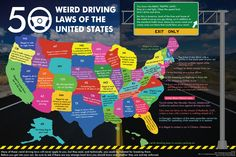 You know the basic traffic laws – stop at a red light, obey the speed limit, don't drink and drive. But in America, in addition to the standard traffic laws, there are wacky ones out there too. Check out the infographic for weird traffic laws in the US which will blow your mind.