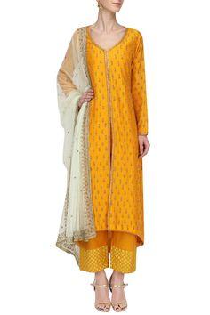 MEGHA & JIGAR Mustard Embroidered Kurta Set. Shop Now! #meghaandjigar #ethnic #mustard #embroidered #kurtaset #indianfashion #indiandesigners #perniaspopupshop #happyshopping