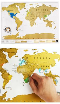 Where I've Been scratch off map - great gift for the jet setter $24 I really need this since I'm gonna travel the world!!