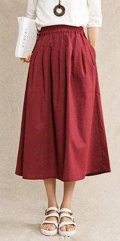Plus Size Vintage Cotton Linen Skirts Women Clothes– FantasyLinen Floral Dress Outfits, Casual Skirt Outfits, Dress Casual, Work Outfits, Plus Size Work Dresses, Dresses For Work, Business Casual Skirt, Plus Size Vintage, Linen Skirt