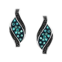 10KT White gold 0.20 ctw color enhanced blue and black diamond earrings. EAR-DIA-1464