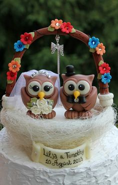 Owl love bird custom wedding cake topper with by PerlillaPets