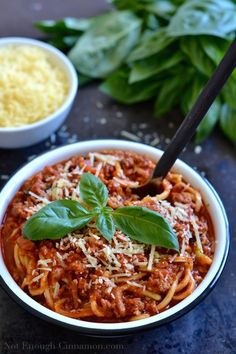 Zucchini Pasta with Quick and Easy Turkey Bolognese. It may be one of the easiest and best things I have made and zero guilt! (NotEnoughCinnamon)