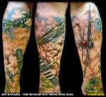 Mustang Montage: P-51 WWII Fighter Aircraft Leg Tattoo - larger image at: http://www.tattoosinflight.com/2011/10/16/north-american-p-51-mustang-wwii-fighter-aircraft-leg-tattoo-montage-oliver-jerrold/