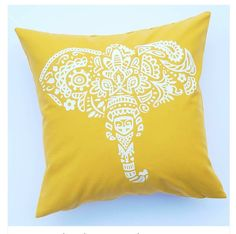 Elephant Pillow w/ Feather Fill Pillow by LittleLauraLouCrafts Pillow Forms, Pillow Inserts, Pillow Covers, Bedroom Ideas, Bedroom Decor, Elephant Pillow, Feather Pillows, White Vinyl, Dorm Decorations