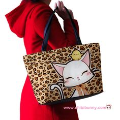 Cute lady cat on leopard print - Shoulder handbag - SB6 | ChibiBunny - Bags & Purses on ArtFire