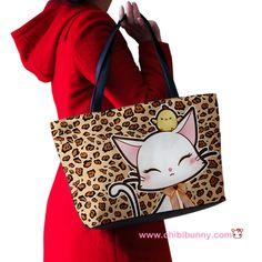 Cute lady cat on leopard print - Shoulder handbag - SB6   ChibiBunny - Bags & Purses on ArtFire