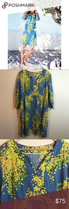 """Boden Blue Yellow Linen Tunic Size 18L Long Excellent condition. No flaws. 100% Linen. US size 18L or 18 long. Measurements taken laid flat: bust approximately 23"""", length approximately 40"""" Boden Dresses Midi"""