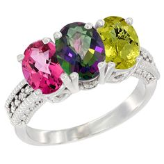 10K White Gold Natural Pink Topaz, Mystic Topaz and Lemon Quartz Ring 3-Stone Oval 7x5 mm Diamond Accent, sizes 5 - 10 * Trust me, this is great! Click the image. : Ring Bands