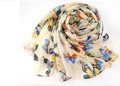 Creamy white Women Fashion Butterfly Print Chic Elegant Long Scarf Wrap
