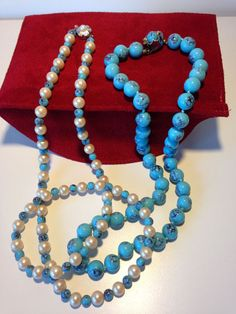 VINTAGE CZECH TURQUOISE GLASS BEADED, PEARL NECKLACES, HAND KNOTTED