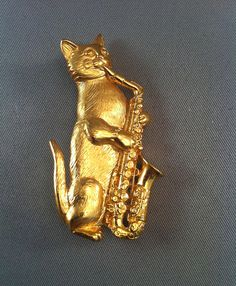Vintage Brass Cat Playing Saxophone Sax Playing Cats Vintage
