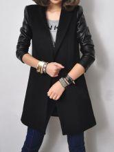 #SheInside Black Notch Lapel Contrast Leather Long Sleeve Coat $91.6