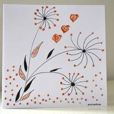 Carte anniversaire zen  peinte à la main - carte de voeux originale -