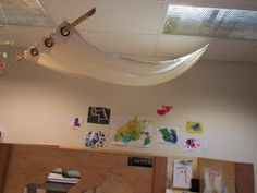 Using fabric to soften an institutional classroom