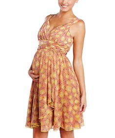 Take a look at this Summer Floral Ruffle Maternity Wrap Dress by Maternal America on #zulily today!