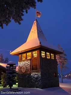 Tower of Santa Claus Main Post Office in Santa Claus Village in Rovaniemi in Finnish Lapland