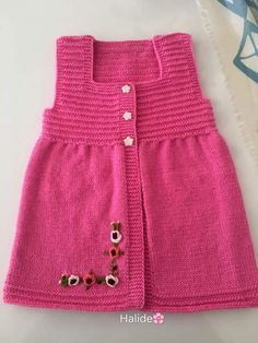 Selamunaleykum Want To Knit Good Mornin Orgulu - Diy Crafts - DIY & Crafts Crochet Baby Jacket, Baby Cardigan Knitting Pattern, Crochet Baby Booties, Baby Knitting Patterns, Knitting Designs, Girls Knitted Dress, Knit Baby Dress, Knitted Baby Clothes, Baby Dress Patterns