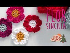 FLOR SENCILLA ACROCHET (VERY EASY FLOWER) - YouTube
