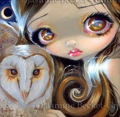 Fairy Face 176 Jasmine Becket-Griffith Big Eye Owl Moon Fairy SIGNED 6x6 PRINT