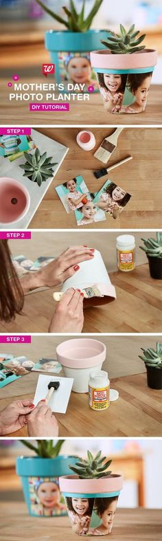 Make mom smile with a modern take on a timeless tradition. Create this easy DIY photo planter for Mother's Day. The perfect gift for Mom, Grandma, and all the special mothers in your life. Get the full tutorial on our Smile blo Best Gifts For Mom, Perfect Gift For Mom, Mothers Day Crafts, Mother Day Gifts, Holiday Crafts, Christmas Diy, Mother's Day Photos, Diy And Crafts Sewing, Mother's Day Diy
