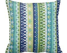 outdoor pillows, striped pillows, blue outdoor throw pillows, blue green patio pillows, pillow covers, 18 inch outdoor pillow, chair pillow