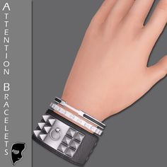 Attention Bracelets - SecondLife SecondLife Bracers Bracelettes Armbands Wristband Wrist Bands Spikes