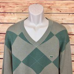 ⭐lacoste Green Argyle V Neck Sweater Long Sleeve Mens Size 8 XXL Cotton 2XL | eBay