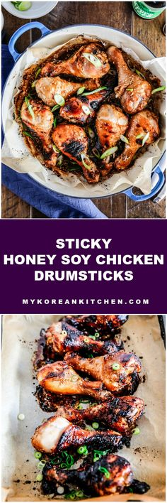 Sticky honey soy chicken drumsticks are super easy and deliciously saucy chicken legs baked in the oven. These drumsticks go well on its own or over steamed rice. | MyKoreanKitchen.com