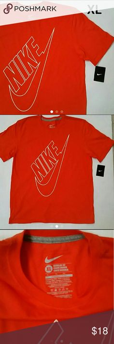 NWT Men's Nike T-Shirt Size XL ** Start Your Christmas Shopping Here! **  Brand New With Tag Men's Nike T-Shirt. Short Sleeves.  NIKE and SWOOSH print.  ORANGE.   Size XL Regular Fit.  Length 30.5 inches.  Flat armpit to armpit 23 inches.                                                       ------ PRICE FIRM -------- Nike Shirts Tees - Short Sleeve