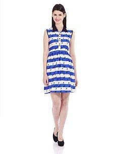 Stilestreet Women's Silk A-Line Dress (S14048B_XL_Blue and White)