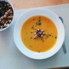 Creamy roasted butternut squash soup for fall