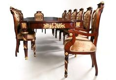 Antique Taste | Luxurious Antique Style Dining Room Reproductions Antique Dining Rooms, Antique Furniture, Dining Set, Dining Chairs, Dining Table, China Buffet, French Country Dining Room, Empire Style, Luxury