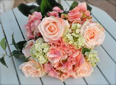 brides wedding bouquets with hydrangeas | Coral salmon rose & hydrangea wedding by Hollysflowershoppe