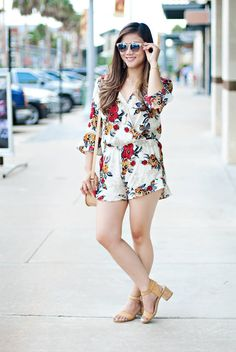Floral romper that you can wear in both summer and fall.