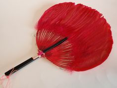 Vintage Hot Pink Fuschia Hand Held Fan Decorative Hang Chinese Black Wood Handle | eBay