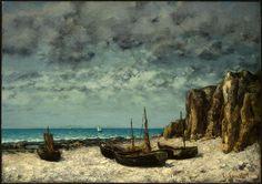 'boote auf einer strand, étretat', 1869 von Gustave Courbet (1819-1877, France)