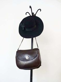 supercute brown leather vintage shoulder bag di Leschosesdemanu