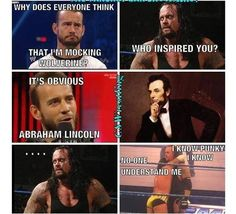 LMAO! Awwwwww CM Punk confiding with Undertaker.
