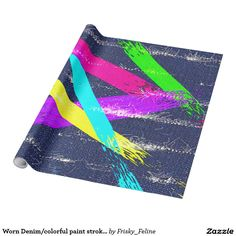 Worn Denim/colorful paint strokes pattern Wrapping Paper
