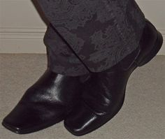 Tone-on-tone paisley pants & ankle boots - both Kenneth Cole…