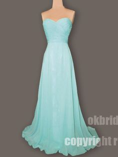 chiffon prom dress, long prom dress, baby blue prom dress, cheap prom dress, RE061. $132.99, via Etsy.